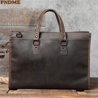 Briefcases PNDME Vintage Men's Briefcase Large Capacity Laptop Handbag Work Designer Genuine Leather Messenger Bag