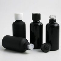 Storage Bottles & Jars 10pcs 50ml Essential Oil Glass Bottle With Plastic Cap Travel Frosted Smooth Black Cosmetic Vial