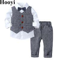 Printemps garçons met à la bande des enfants T-shirts Baby Long Patters Enfants Converses Vêtements Vêtements Tuxedo 210413