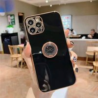 iPhone 12 미니 프로 11 XR x 7 8 Plus SE 2020 도금 실리콘 TPU 소프트 커버와 링 홀더 스탠드 럭셔리 링