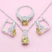 Wedding Jewelry Sets Yellow Round 925 Silver Women 5 Colors Hoop Earrings Necklace Ring Fashion Free Gift Box