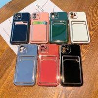 Chapeamento macio silicone carteira caso Mobile Phone Cases iphone 13 11 12 pro max xs xr x r 8 7 plus iphone13 bolsa de bolso capa com slot para cartão titular
