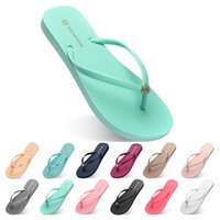 twenty two Slippers Beach shoes Flip Flops womens green yell...