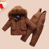 WENWENDEXINGFU Детская зимняя одежда наборы детские девочки мальчики одежда подходит утка вниз теплые утолщенные пальто нагрудника брюки младенческие костюмы Y1117
