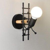 Kreative kleine mann eisen wandlampe nordic licht kunst dekor einfache cartoon roboter sconce lampen für schlafzimmer