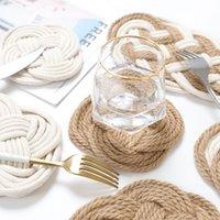Hilo de algodón tejido hecha a mano Mesa de mesa Mesa de comedor Placemats Aislamiento Pads Copa Cena Cena Decoraciones Y0258