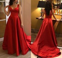Simple Satin A-Line Evening Dresses Sweep Train Zipper Back Spaghetti Strap Prom Dress Formal Party Gowns