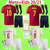 طقم الكبار + الأطفال مع الجوارب إسبانيا جيرسي لكرة القدم 2020 spain 2021 RODRIGO PEDRI FERRAN KOKE MORATA RAMOS قميص كرة القدم للأطفال 20 21 طقم للأولاد بدلة رجالي في المنزل بعيدًا