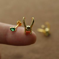 925 Sterling Silver Loki Helmet earring Avenger Charm Superhero Jewelry Loki Stud Earrings Valentine's Day Gift 210609