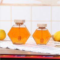 جرة العسل الزجاجي ل 220ML / 380ML مصغرة وعاء حاوية زجاجة عسل صغيرة مع عصا خشبية ملعقة 1 968 R2