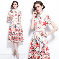Boutique Dress Short Sleeve Ruffle Womens Printed Dress High-end Summer Midi Dresses Fashion Elegant Lady Dress Party Dresses