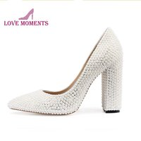 White Pearl Bride Wedding Party Shoes Mother Of The Pointed Toe Customized Evening Club Pumps Thick Heel Prom Dress