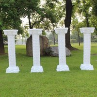 Decoração de festa 4 pcs 98cm Plástico Coluna Romana Coluna Branca Fornecedores De Casamento De Casamento De Flores Suporte De Flores Iluminação Roma Colunas