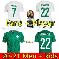 Versão de jogador de fãs Algerie 2021 Home Futebol Jerseys Mahrez Feghouli Bennacer 20 21 Argélia Kits de Futebol Camisa Homens Crianças Conjuntos Maillot de Pé
