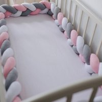 Bedding Sets 1M 2M 3M 4M Baby Bumper Crib Cot Protector Infant Set For Boy Girl Braid Knot Pillow Cushion Room Decor