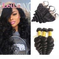 Cheap бразильские человеческие волосы девственницы свободные волны 3 пучка с кружевом лобового 13 x 4 закрытие 4 шт.