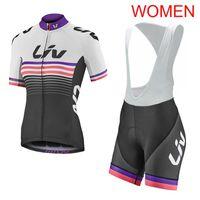 Donne Liv Team Manica Corta Cycling Jersey Vestito Bicicletta Top Bib Pantaloni Vestito Sportswear all'aperto Abbigliamento rapido Dry Mountain Bike Vestiti H041926