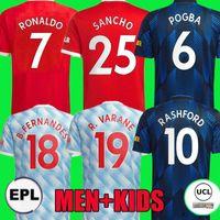 21 22 Sancho Ronaldo Manchester Home Homem Soccer Jerseys Utd Fans Player Top United Bruno Fernandes R.Varane Pogba Rashford Camisa de Futebol 2021 2022 Men + Kit Kit