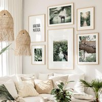 Paintings Tropical Palm Forest Jungle Elephant Leopard Bridge Wall Art Print Canvas Painting Nordic Poster Decor Pictures For Living Room
