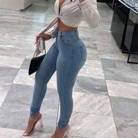 Women's Jeans Calças De Brim Cintura Alta Das Mulheres Do Estiramento Denim Moda Feminina Algodão Fino Com Zíper Azul