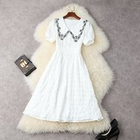 European and American women's wear for summer 2021 Short sleeved embroidered lapel Fashion white pleated dress