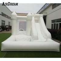 Factory price white and green bounce house inflatable commercial wedding bouncy castle inflatables bouncer with slide