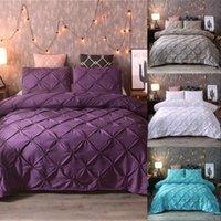 럭셔리 블랙 이불 커버 핀치 주름 짧은 침구 세트 퀸 킹 사이즈 3pcs 침대 린넨 세트 이불 커버 PillowCase45 472 V2