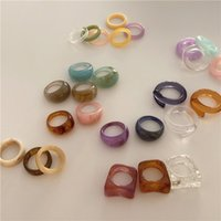 design high fashion transparent clear acrylic ring statement jewelry resin ellipse rings INS style