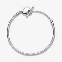 Women Moment Heart T-Bar Snake Chain Charm Bracelets Fit Pandora Beads Top Quality 925 Sterling Silver Bracelet With Original Box Lady Gift
