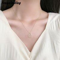 Fengxiaoling moda 100% 925 linha de prata esterlina pequena casa pingente colares para mulheres finas jóias acessórios bonitos