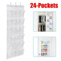 est Useful 24 Pockets Over The Door Behind Shoe Organizer Rack Hanging Organizers Space Saver Rack Hanging Storage Hanger 210811