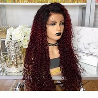 Burgundy Curly Brazilian Full Lace Human Hair Wigs with Baby Hair 360 Lace Frontal Wigs for Black Women Pre Plucked Hairline