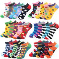 1 Pair Colorful Geometric Plaid Striped Socks Men Happy Cotton Ankle Funny Men Short Summer Casual Socks Business Men's Socks