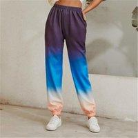 Womens Gradient High Waist Moda Fashion Trend Colorblocked Elastic Causal Pantaloni Pantaloni Designer Femmina Sport Sport Pantaloni da pista