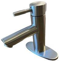 Robinet de salle de bain en nickel brossé Ferme de ferme à manche d'eau Sauvetage lavabo lavabo lavabo lavabo avec ligne d'alimentation Mélangeur sans plomb