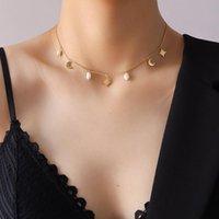 Chapers Minar Sweet Moon Star Star Natural Perle Pendentif Collier pour Femme Dames Titanium Acier Mince Chain Accessoires