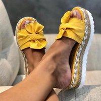 Sandalias Mujer 2021 Sandálias Mulheres Slides Summer Bow-Knot Chinelos com Soles Grossas Plataforma Feminino Floral Beach Sapatos