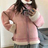 Mujeres invierno cálido abrigo grueso dama faux piel suelta gamuza hembra cuero chaqueta corta casual Outwears 210517