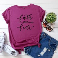 Women's T-Shirts Casual Cotton T Shirts Faith Over Fear Letter Print Tshirt Female Loose Basic Tees Oversized Tops