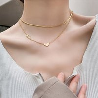 Chains Lifefontier Gold Color Snake Chain Love Heart Pendant Choker Necklace For Women Stainless Steel Thin Jewelry Gift