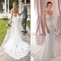 2021 Beach Wedding Dresses Bridal Gown Spaghetti Straps Mermaid Lace Applique Sweep Train Backless Custom Made Vestido de novia
