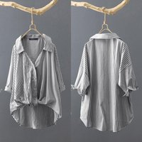 Women's Blouses & Shirts Fashion Patchwork Summer Striped Blouse ZANZEA Casual Button Down Blusas Female Lapel Asymmetrical Tops Oversized