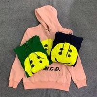6 Colors Mens Designer Hoodies Kanye West Smiley Face 3D Printing Plus Velvet Hoodie High Sreet Long Sleeve