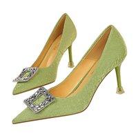 Dress Shoes Plus Size 34-43 Green Women Pumps Sexy Silk Pointy Toe Rhinestone Crystal High Heels Stilettos Ladies Party Wedding Shoe
