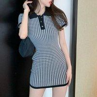 Houndstooth Vintage Knitted Mini Summer Dress Women 2021 Elegant Korean Black Casual Bodycon Sweater Dresses Robe Femme Vestidos