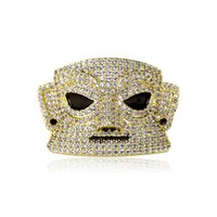 Hip Hop Necklace Sanxingdui Face Gold Silver Plated Full of Zircon Iced Out CZ Diamond Chain