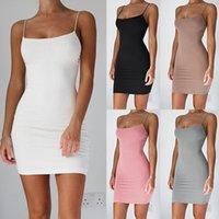 Yaz Gece Kulübü Elbise Sling Katı Renk Kolsuz İnce Kadın Elbise