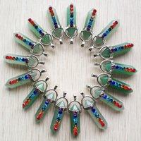 Piedra de Aventurina Verde 7 Color Chakra Rhinestone Reiki Pilar Charms Péndulo Colgantes Para Collar Joyería Making