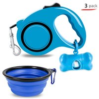 Dog Collars & Leashes 3 IN 1 Pets Products 5M Dogs Leash Walking Traction Rope Poop Garbage Bag Holder Portable Folding Silicone Bowls Dish