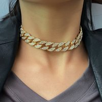 Necklace Womens with Diamond Alloy Buckle Girl Women Cuban Link Chain Female Hip Hop Jewelry Fashion
